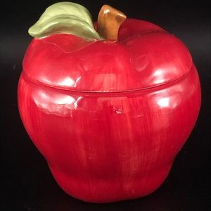 Sur La Table Red Apple Dish with Lid New